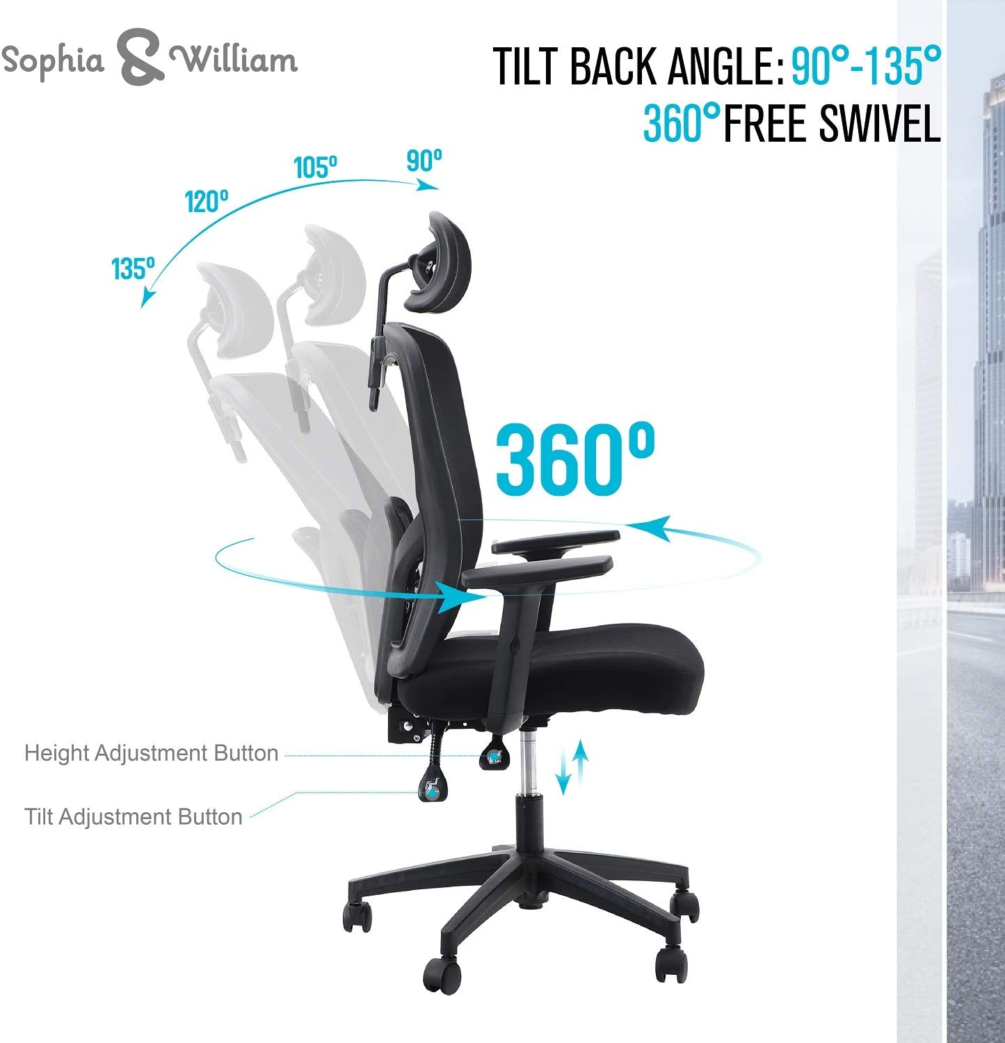 Lumbar Support and Headrest Load Capacity: 300 lbs Sophia /& William Ergonomic Mesh Office Desk Chair High Back Black Modern 360/° Swivel Executive Computer Chair with Height Adjustable Armrests