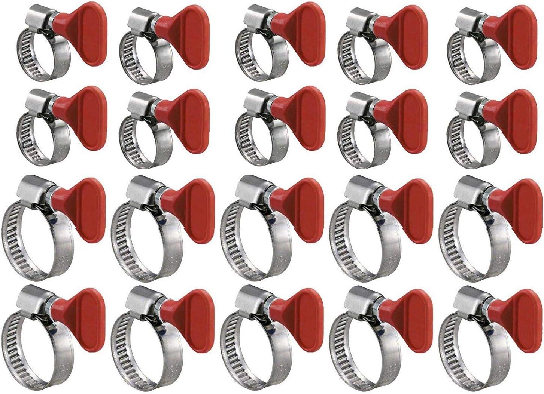 1 + 1-1//2 20 Pcs GOOD CHOICE Key Type Twist Adjustable Stainless Steel Hose Clamp Set Kit