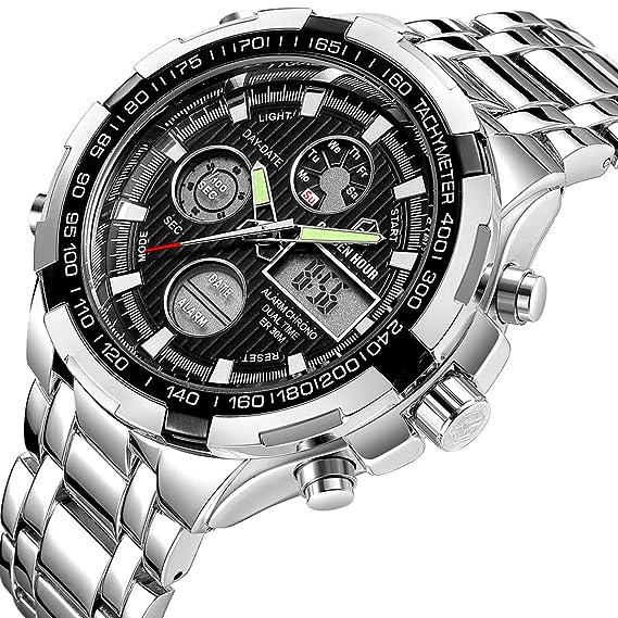 Reloj de pulsera analógico y digital de acero de lujo para hombre, color negro y plateado, deportivo, militar, para actividades en exteriores: Amazon.es: ...