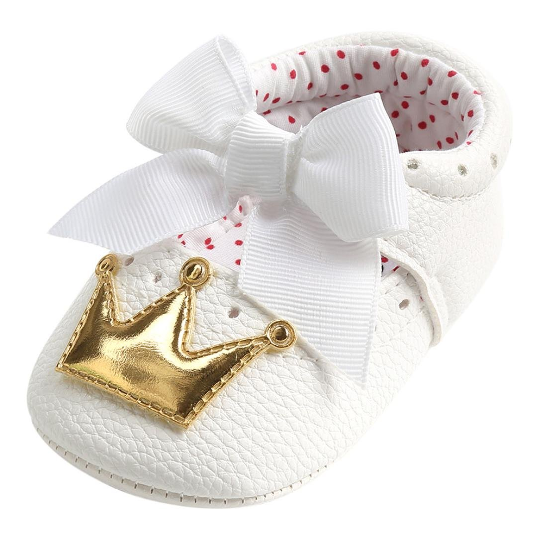 Amazon.com | Efaster Toddler Baby Girls Bow-Knot Crown Anti-Slip Crib Shoes Princess Sneakers Red | Shoes