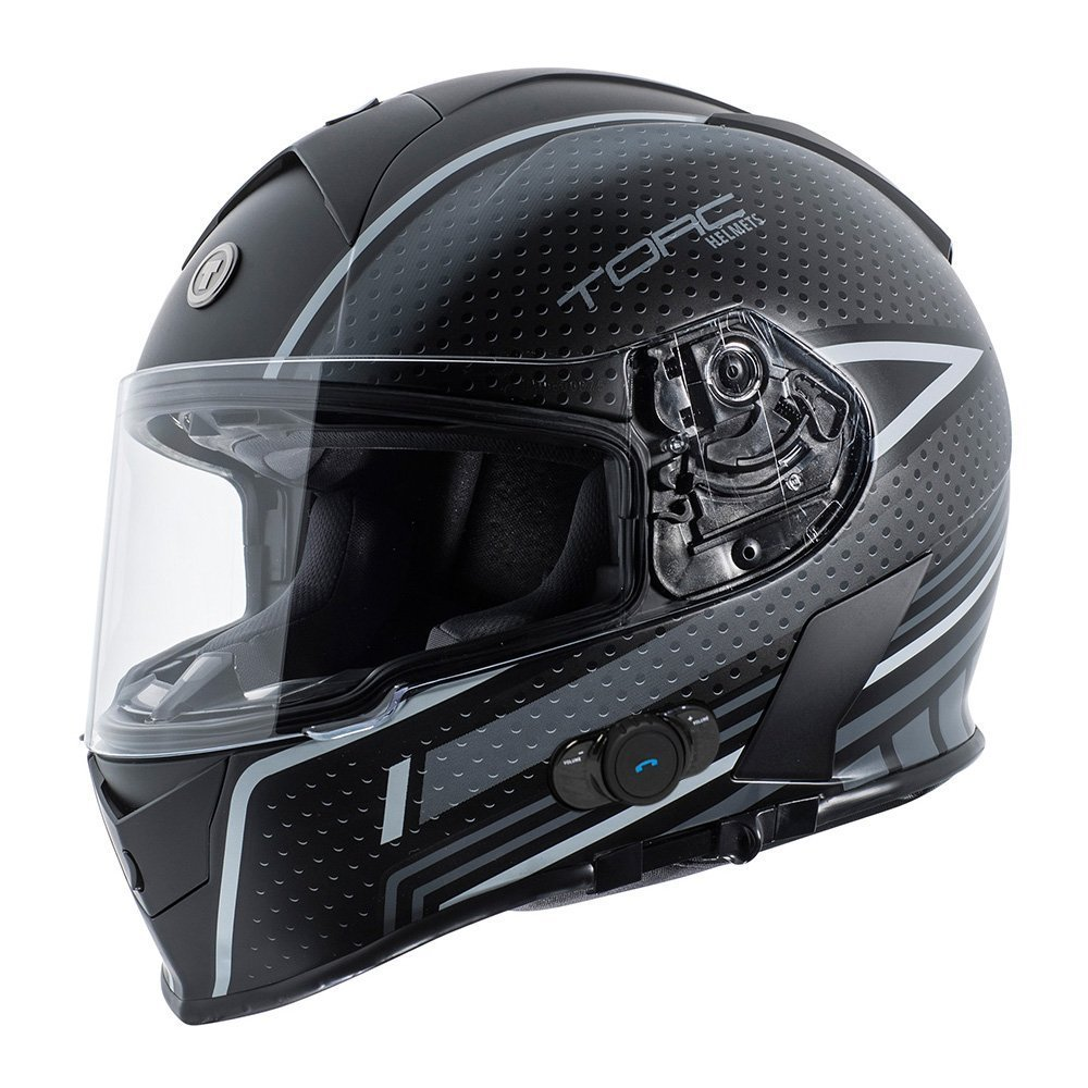 Torc T14B Blinc Loaded Scramble Mako Full Face Helmet (Flat Black/Grey with Graphic, X-Small)