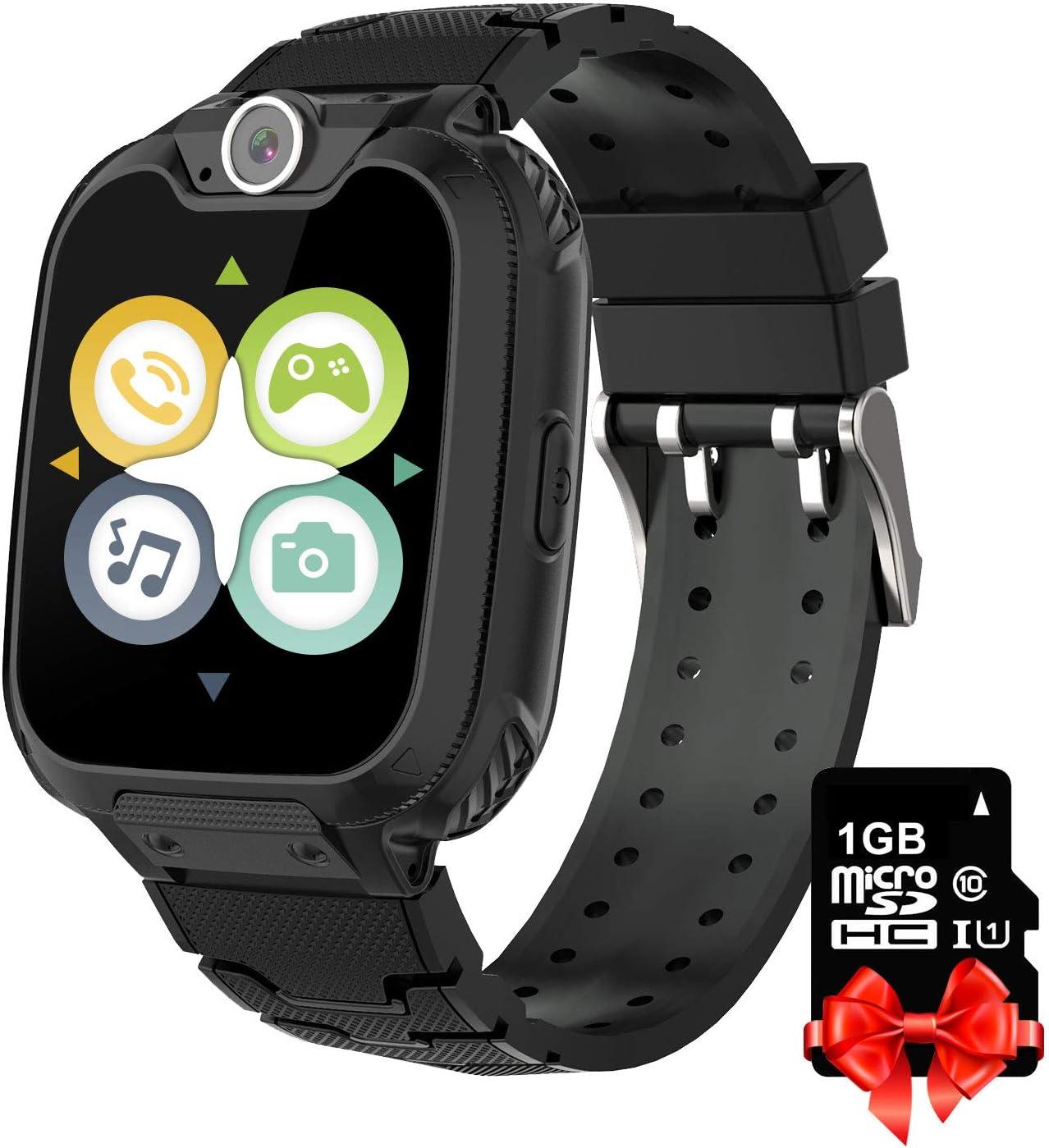 Reproductor de música para niños Smart Watch Phone para niños -Games Watch Phone con tarjeta SD de 1GB Incluido 1.55 '' HD Pantalla táctil Smartwatch Cámara Reloj para niños y niñas Regalo (Negro)