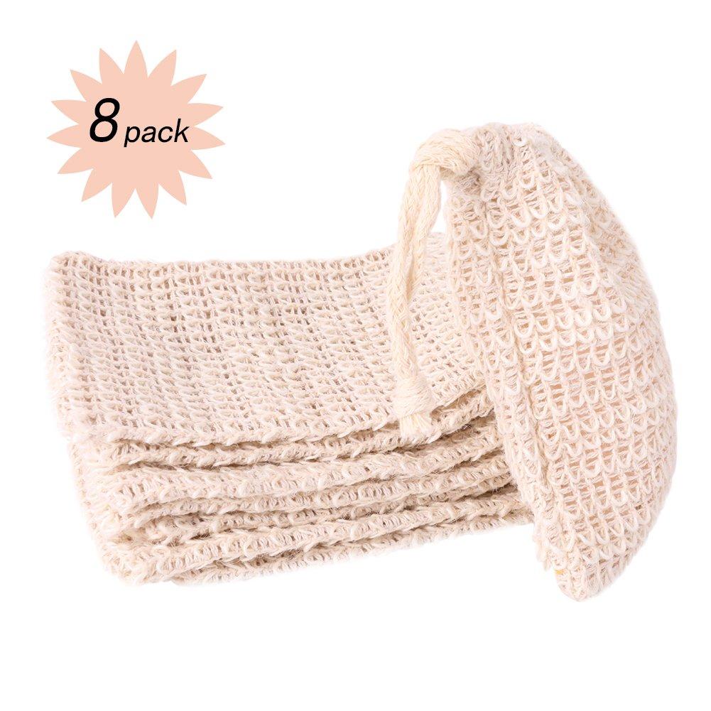 8 Packs Ramie Soap bags Natural Foaming Mesh Saver Holder Foam Net Handmade for Bath Shower Cleanning Dust Skin Exfoliation DANSPEED