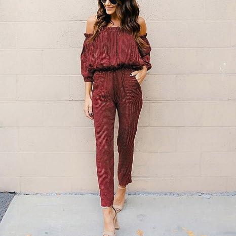 257ec0b876bc DAYLIN 1PC Fashion Womens Ladies Long Sleeve Jumpsuits Romper Off Shoulder  Playsuit Long Pants  Amazon.co.uk  Clothing