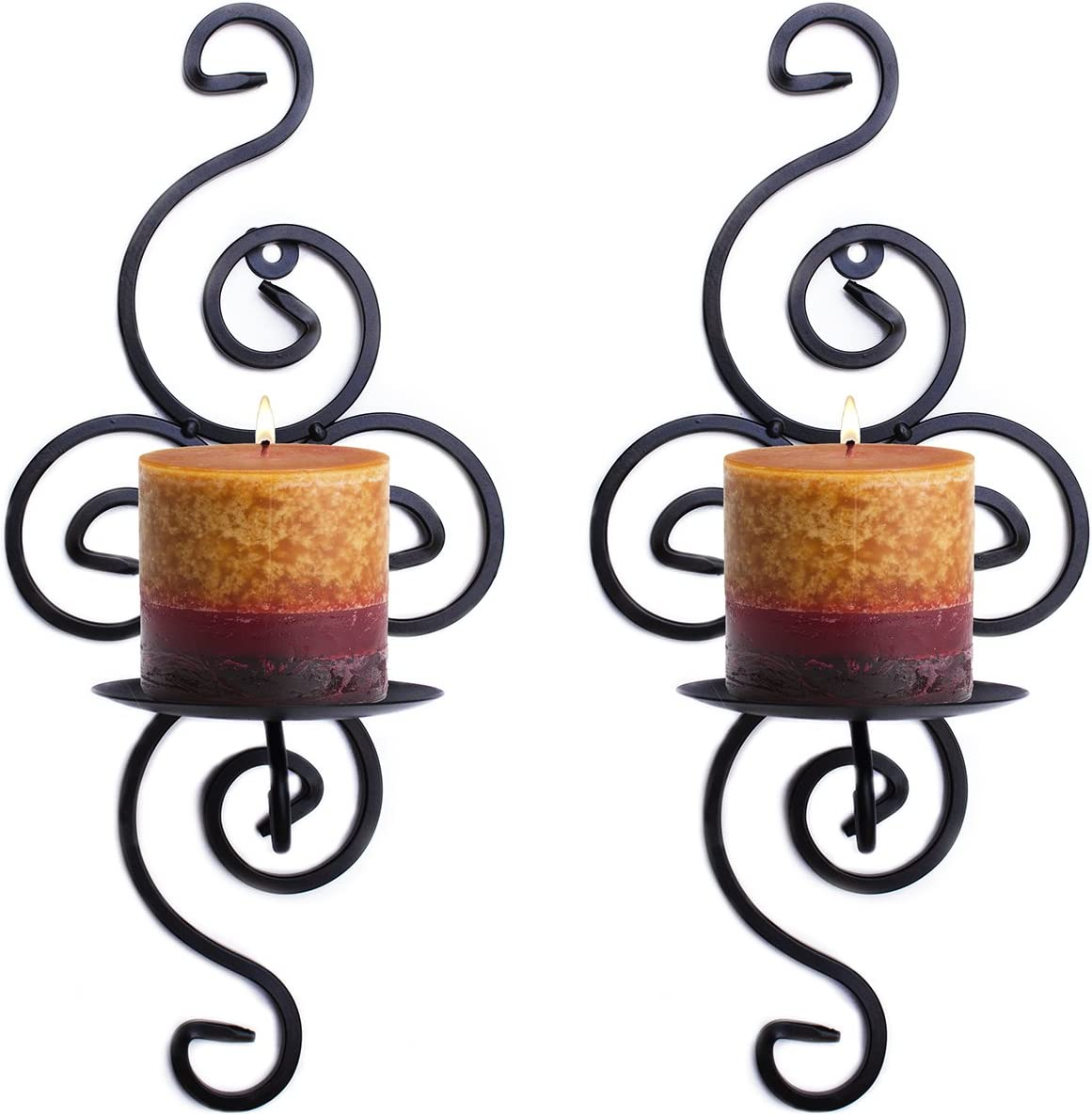 Super Z Outlet Pair of Elegant Swirling Iron Hanging Wall Candleholders Votives Sconce for Home Wall Decorations, Weddings, Events: Home & Kitchen