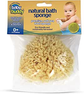 "Baby Buddy's Natural Baby Bath Sponge 4-5"" Ultra Soft Premium Sea Wool Sponge, 1 Count"
