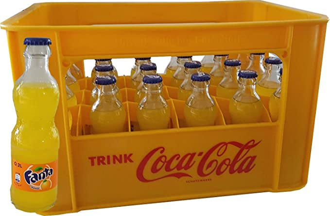 24 x Fanta Orange 0.2L Caja Original Botella de vidrio