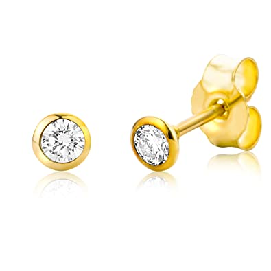 Miore 9 kt (375) Yellow Gold with real Diamonds (0.01ct) Stud Earrings for Women, 4mm