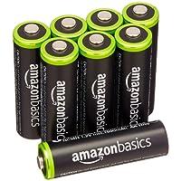 AmazonBasics Lot de 8 piles rechargeables Ni-MH Type AA 1000 cycles 2000 mAh/minimum 1900 mAh (design variable)