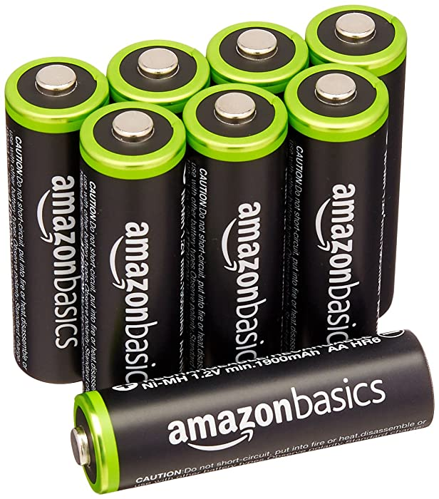 AmazonBasics HR-3UTG-AMZN AA Rechargeable Batteries (8-Pack) Pre-charged - Packaging May Vary, White