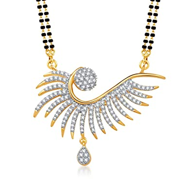 4d78547e4 Buy Amaal Traditional Jewellery Gold Diamond Necklace Pendant Mangalsutra Set  for Women with Chain -MS0767 Online at Low Prices in India
