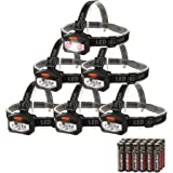 EverBrite 6-pack Headlamp LED Flashlight Battery Operated Super Bright with 2 Red Lights AAA Batteries Included