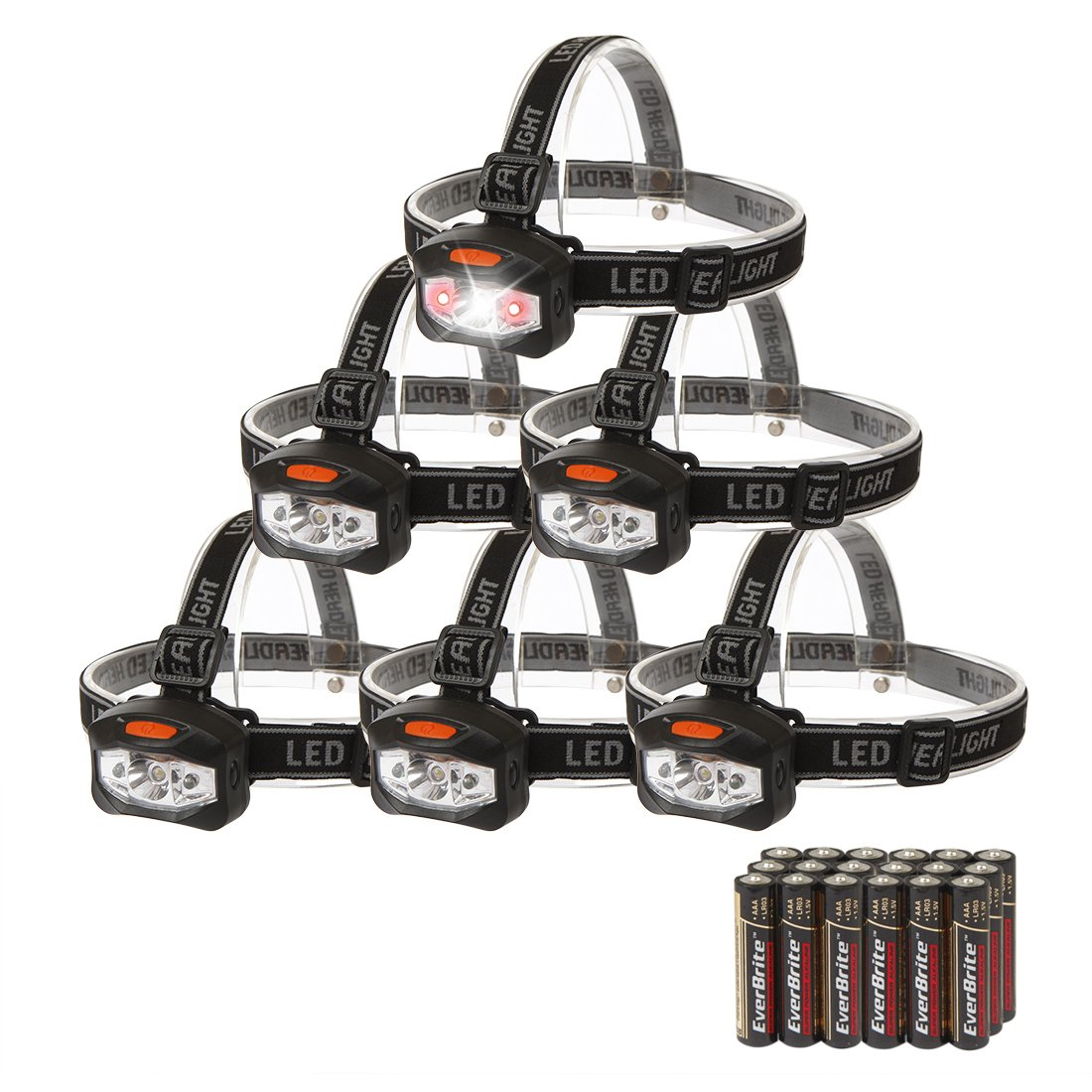 EverBrite 6-pack Headlamp LED 150 Lumens Battery Operated Super Bright with 2 Red Lights AAA Batteries Included by EverBrite