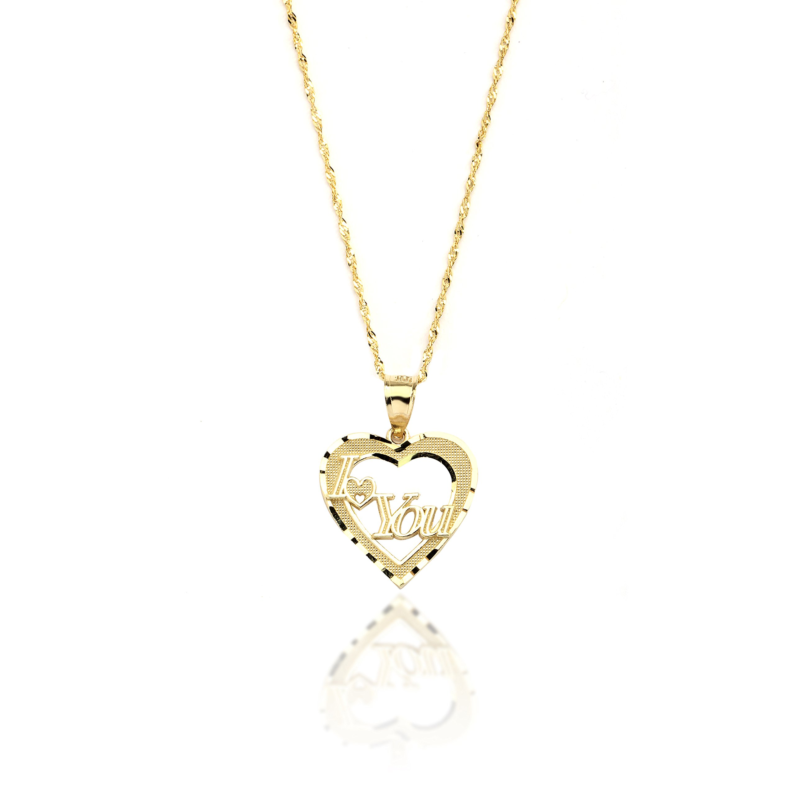 18'' 10k Yellow Gold I Love You Heart Charm Necklace with Singapore Chain for Women and Girls