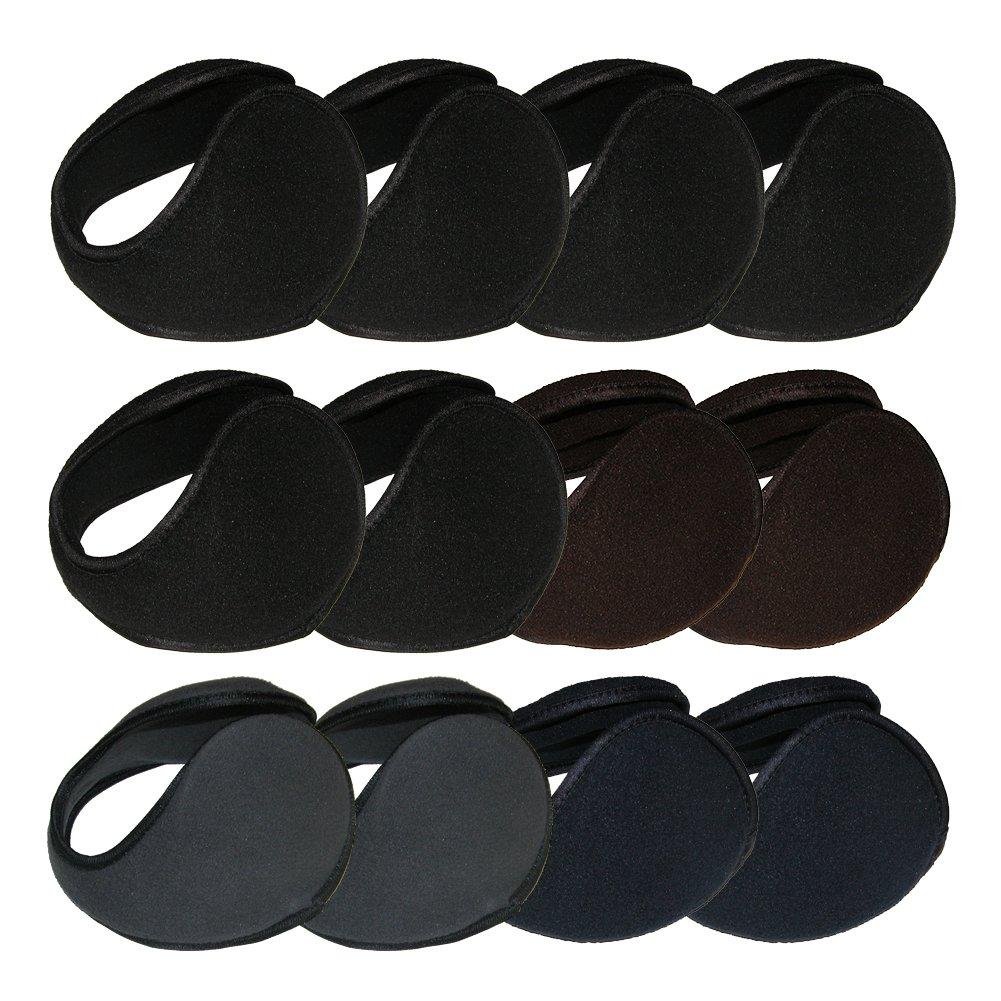 RSG Ear Warmers Muffs Adult Heavy Gauge Metal Underwire (12-Piece Dark Colors)
