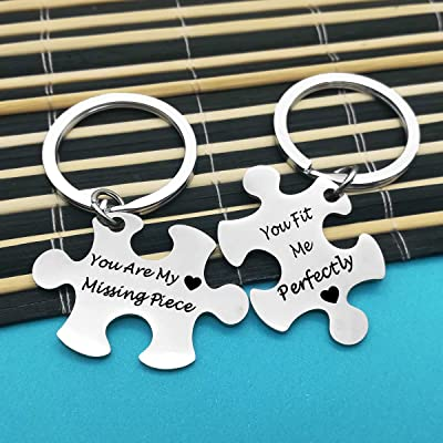 couples initials couples keychain Long distance keychain hand stamped keychain personalized keychain connected hearts boyfriend gift
