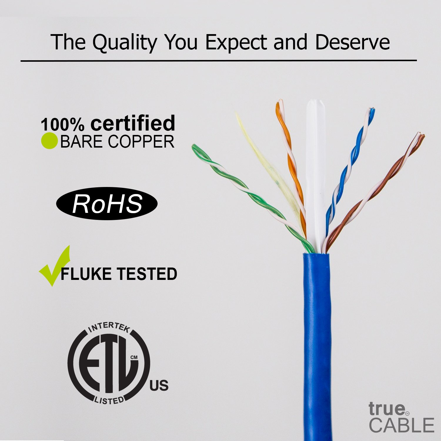 Cat6A Riser (CMR), 1000ft, Blue, Solid Bare Copper Bulk Ethernet Cable, 750MHz, ETL Listed, 23AWG 4 Pair, Unshielded Twisted Pair (UTP), trueCABLE by trueCABLE (Image #3)