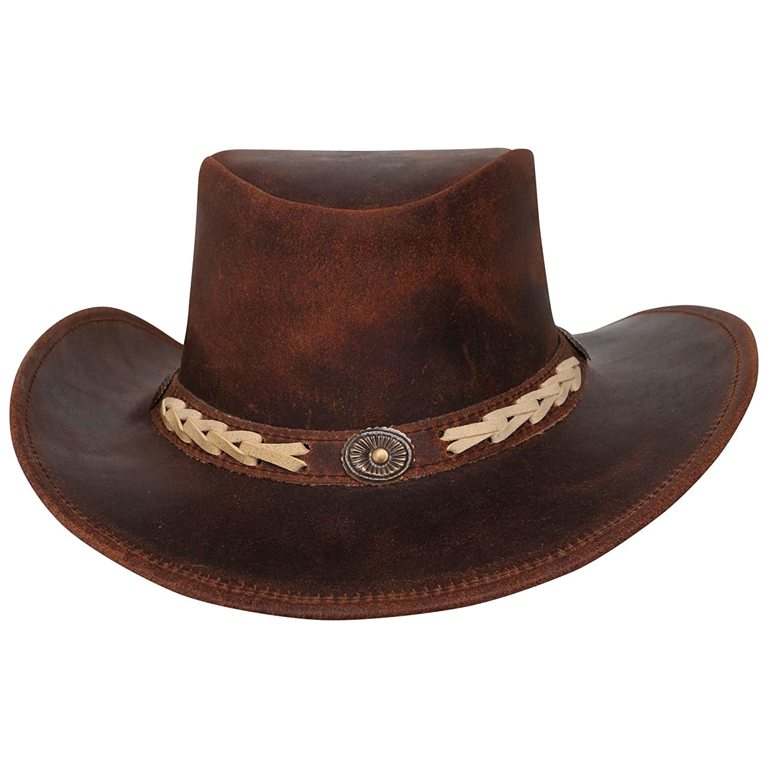 Real Oily Finish Split Marron Cuire Western Cowboy Leather Hats Montreal sialkot