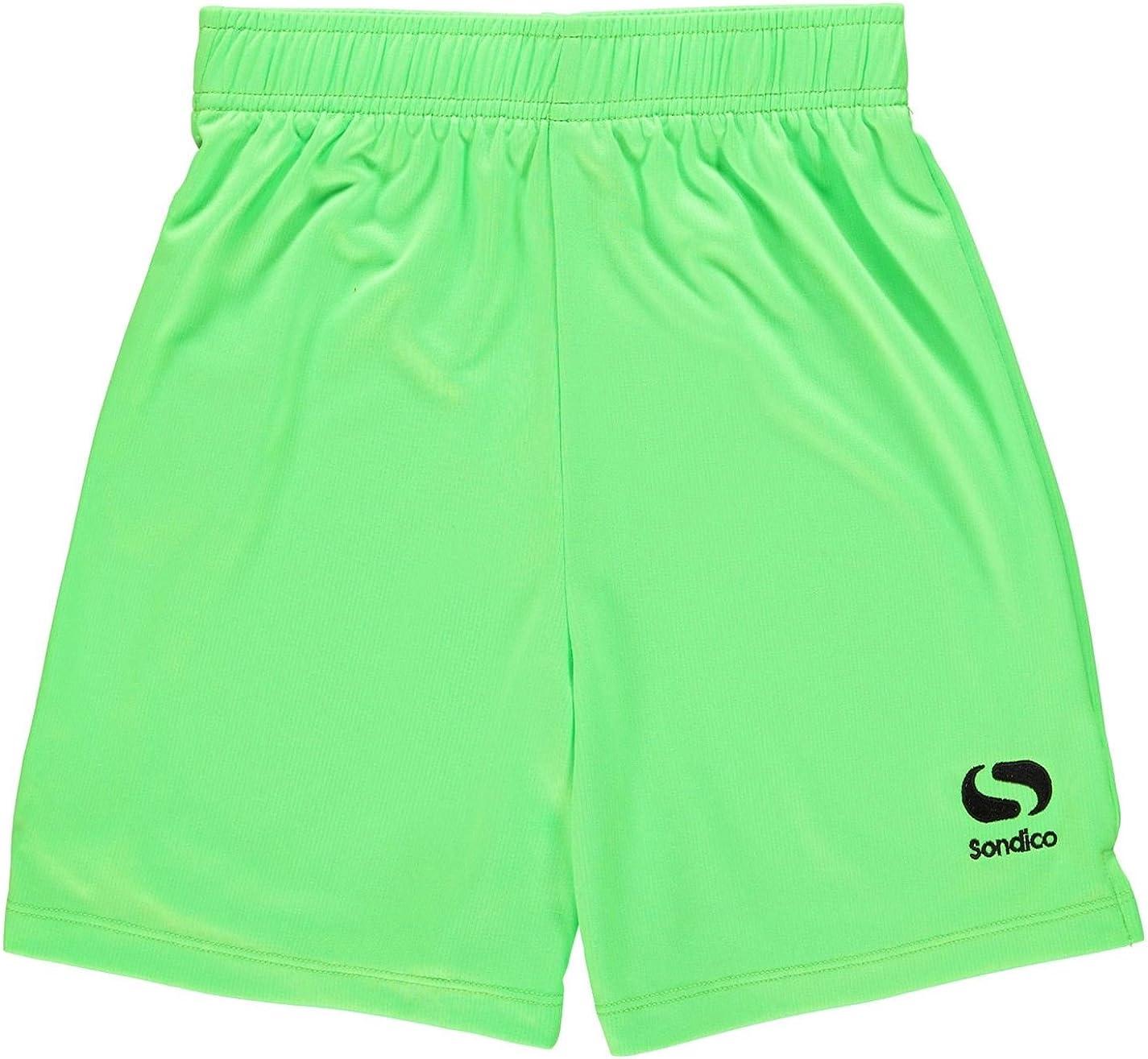 XLB Sondico Kids Boys Core Football Shorts Junior Pants Trousers Bottoms Breathable FluGreen//Black 13