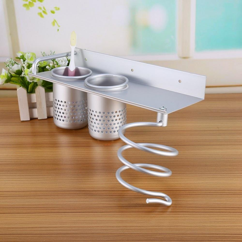 Wall Mount Hair Dryer Hanging Rack Organizer, Multifunctional Aluminum Hair Dryer Holder and 2 Toothbrush Storage Cups