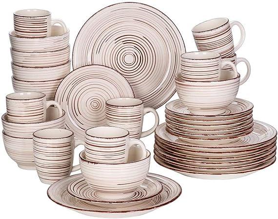 Juego de vajilla de porcelana de 32 piezas Juego de platos de cerámica de aspecto vintage con 8 * Juego de platos Plato de postre Tazón Tazón Set- España: Amazon.es: Hogar