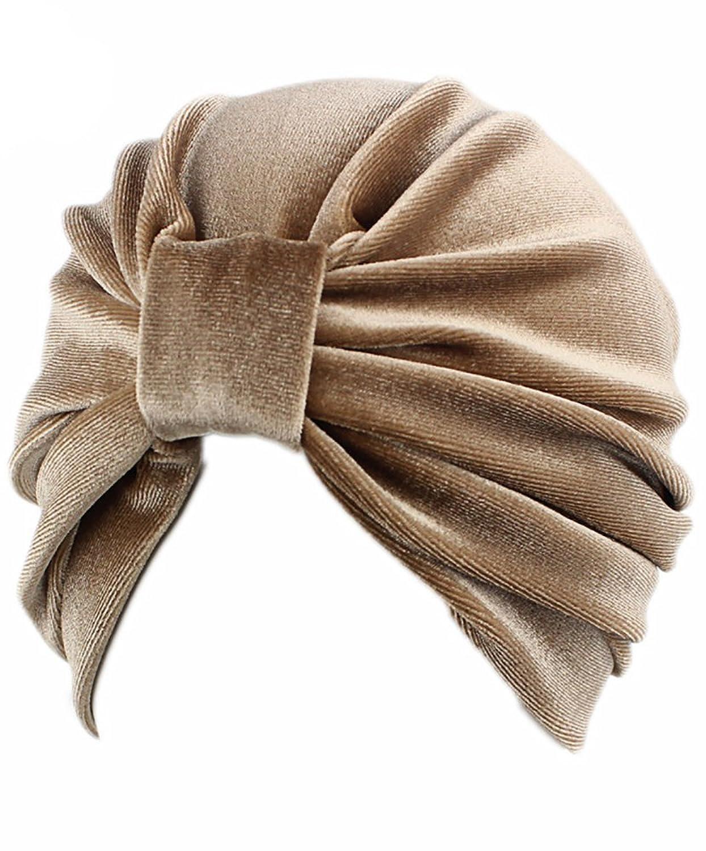 Gobought Womens Turban Indian Style Velvet Head Wrap Cap Hat Hair Cover