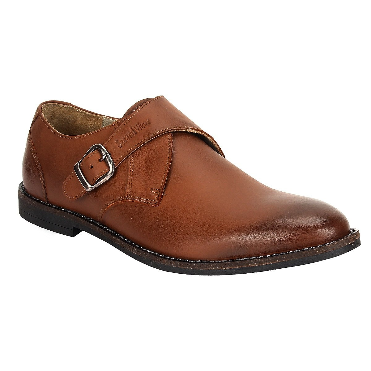 e468d8a2c SeeandWear Monk Shoes for Men. Single Strap Tan Brown Colour Genuine  Leather Formal Shoe.  Buy Online at Low Prices in India - Amazon.in