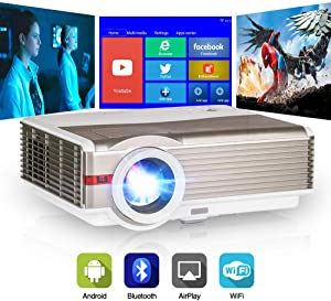 Bluetooth Full HD 1080P Supported Projector with 5000 Lumen, WiFi Synchronize Smartphone Screen, Smart Android Projector for Home Entertainment, Compatible with TV Stick, DVD, HDMI, USB, VGA, AV