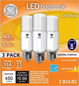 Lot of 2 GE Lighting 63551 5.5 Watt E26 A15 Soft White LED Reveal, Bright Stik, Light Bulb 3 Bulbs Per Box
