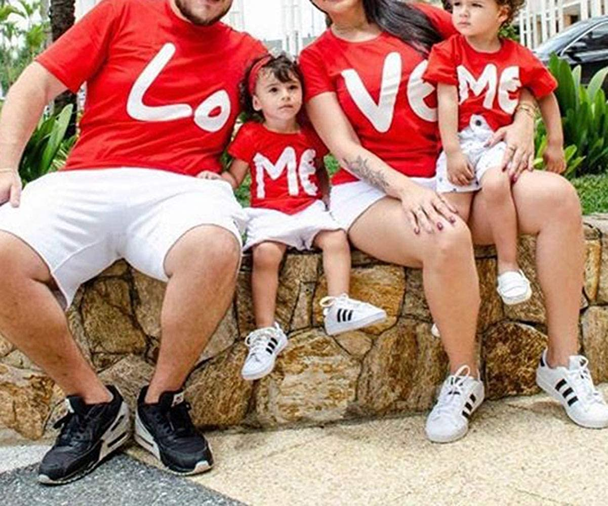 Love Family Parent-Child Casual Casual Mom Dad Kids Short Sleeve Pullover Tops