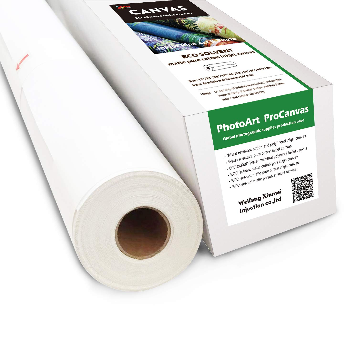 Eco-Solvent Matte Pure Cotton Inkjet Canvas (60'' x 60'(Pack of 4))