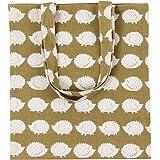 Caixia Women's Cotton Cute Hedgehog Print Canvas Tote Shopping Bag Khaki