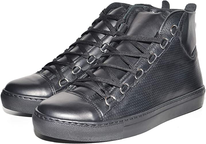 Sneakers Uomo Alta Stringata Nera Pelle Made in Italy Men Shoes Scarpe