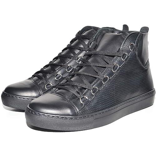 Sneakers Uomo Alta Stringata Nera Pelle Made in Italy Men Shoes Scarpe   Amazon.it  Scarpe e borse 8f14327249d