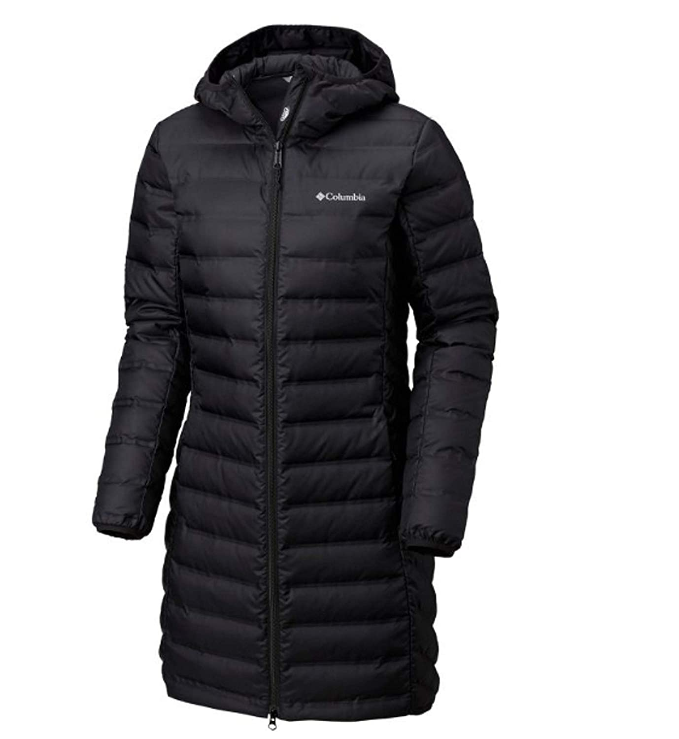 Black Columbia Women's McKay Lake Long Hooded Down Lightweight HeatSeal Jacket