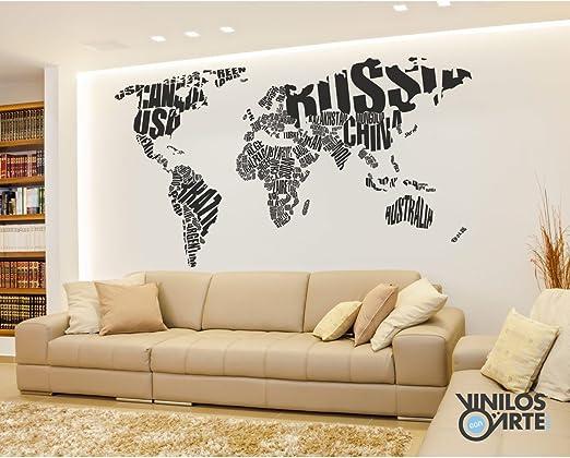 Vinilo decorativo Mapamundi, negro: Amazon.es: Hogar