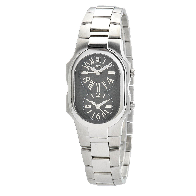 Philip Stein Women 's 1-mb-ss署名デュアル時間ゾーンブラックTextured Dial Watch B005VV6CSW