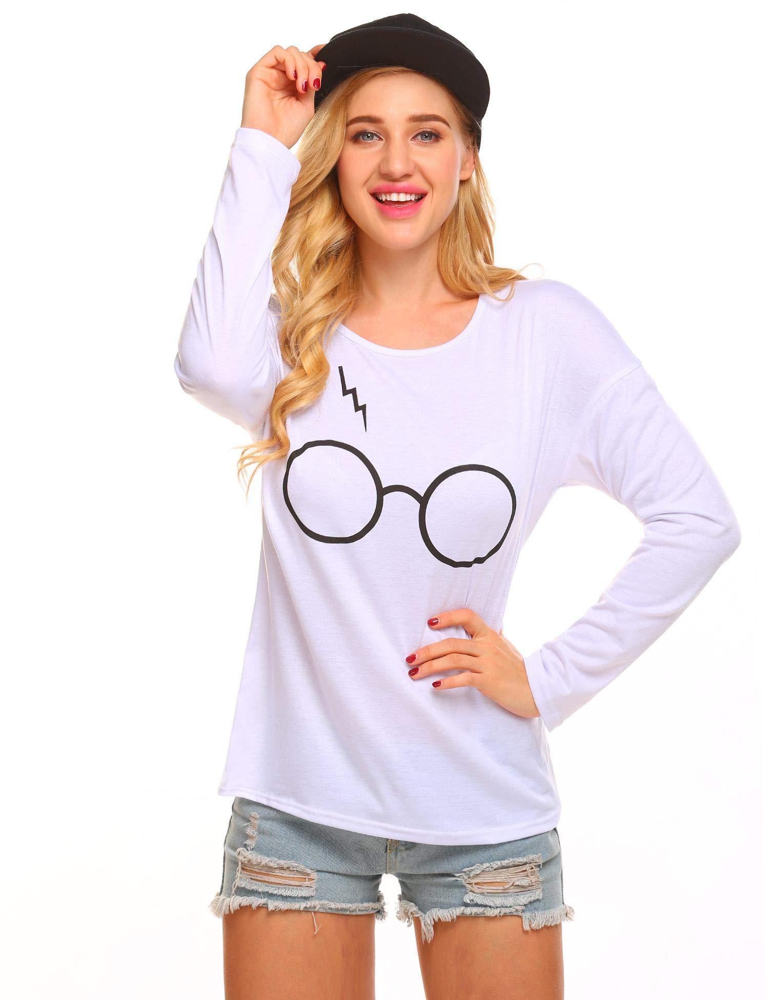 Diaper Women's Autumnn Fashion Long Sleeve Pullover Harry Potter Glasses Prints Sweatshirt Sweater Tops,White,Medium
