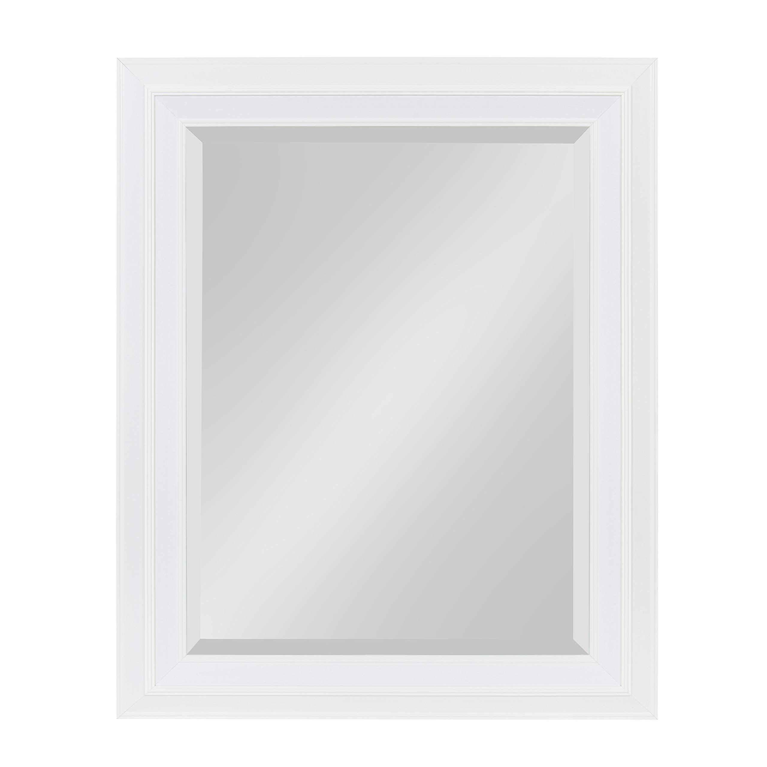 Kate and Laurel Whitley Framed Wall Mirror, 23.5x29.5, White by Kate and Laurel