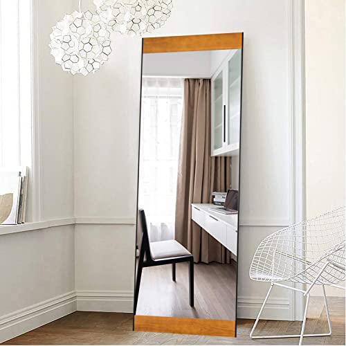 ElevensMirror Wooden Full Length Mirror with Standing Holder Rectangle Floor Dressing Mirror Solid Wood Frame Hanging Mirror Leaning Against Wall Mounted Mirror Metal Frame with Pine Wood