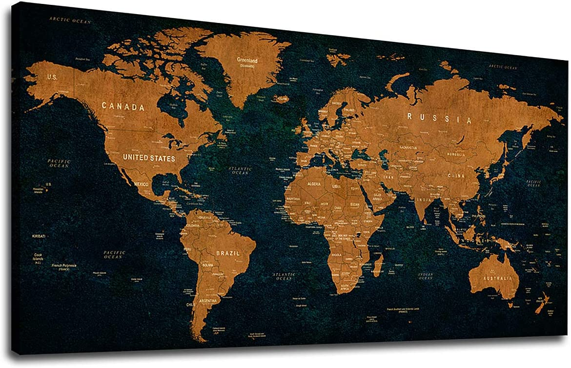 "Vintage World Map Canvas Wall Art Picture 20"" x 40"" Antiqued Map of The World Canvas Artwork Painting Prints for Office Wall Decor Home Living Room Decorations Framed Ready to Hang"