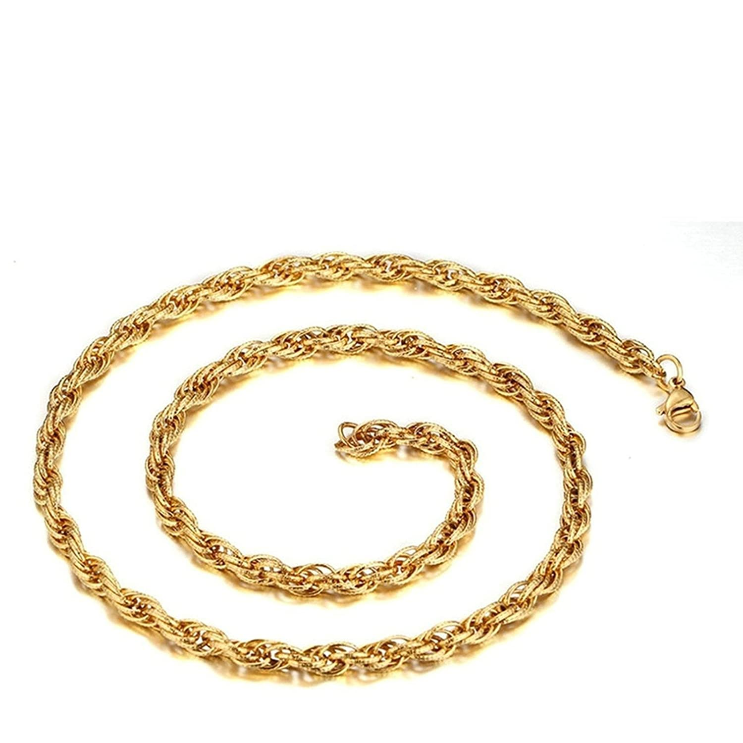mens womens Stainless Steel Chain Necklace Wheat Link Gold Unisex Wedding Novelty Necklace Jewelry Aooaz Jewelry