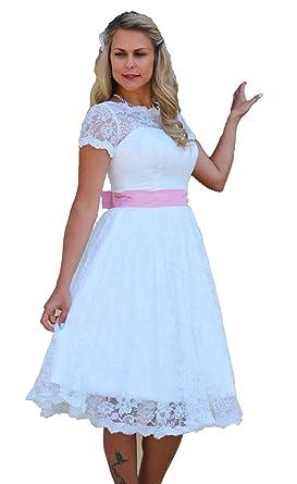 Brautkleid Spitze Knielang Hochzeitskleid XS S M L XL XXL XXXL XXXXL ...