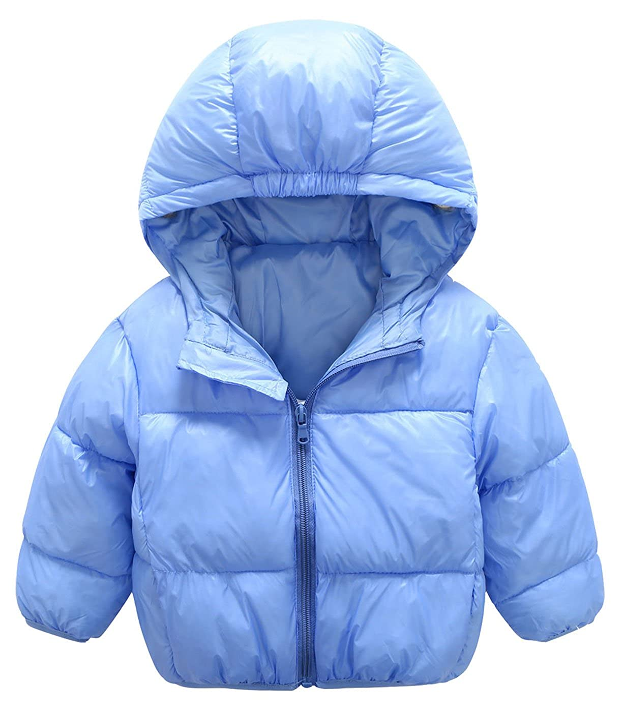 Mengxiaoya Baby Boys Girls Down Jacket Kids Hoodie Coat Winter Outerwear Solid