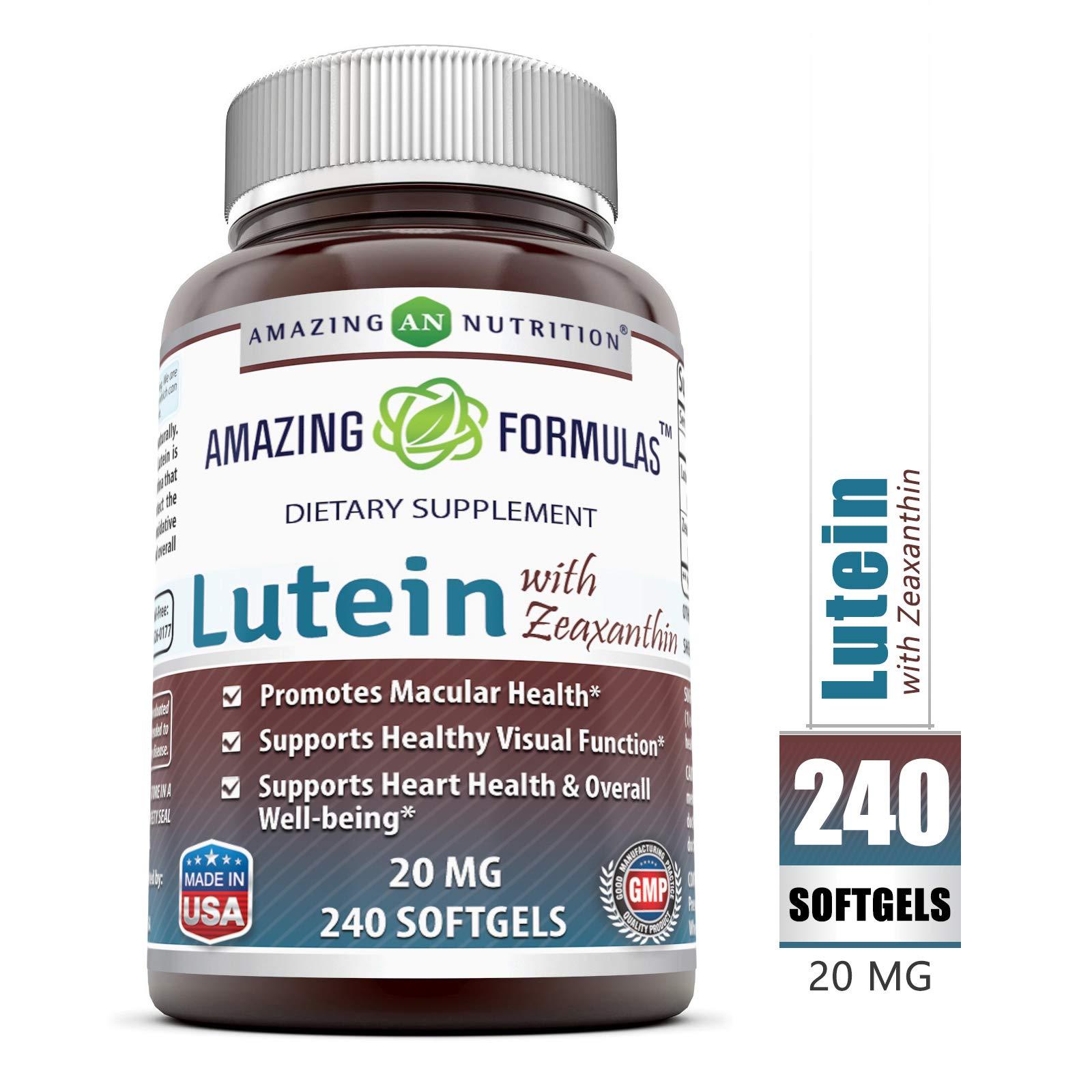 Amazing Nutrition Amazing Formulas Lutein 20 mg with Zeaxanthin 800 mcg- 240 Softgels- Supports Eye Health & Healthy Vision by Amazing Nutrition