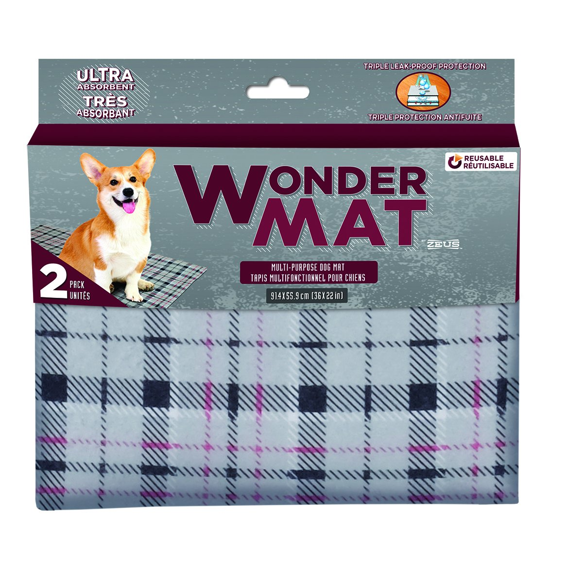 ZEUS Wonder Mat (2 Pack), Plaid, Large