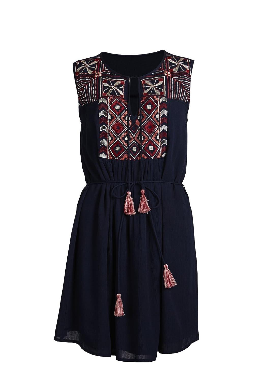Object Tess Damen Sommer-Kleid im Hippie-Look   Boho Etuikleid zum binden mit Stickerei