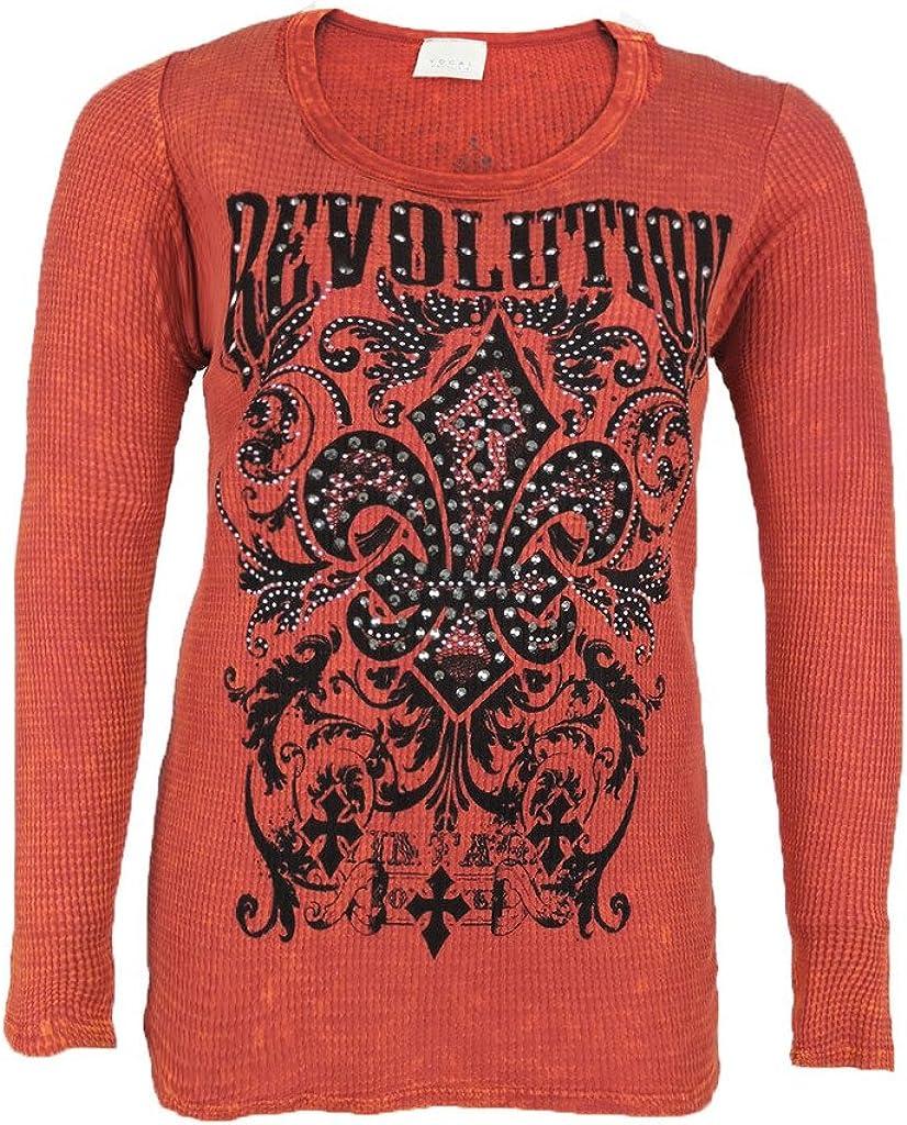 Vocal Women Plus Size Tunic Shirt Cross Crystal Tribal Fleur Rou Some reservation half