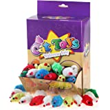 Chiwava 4.1'' Furry Cat Toy Mice Rattle Small Mouse Kitten Interactive Play Assorted Color