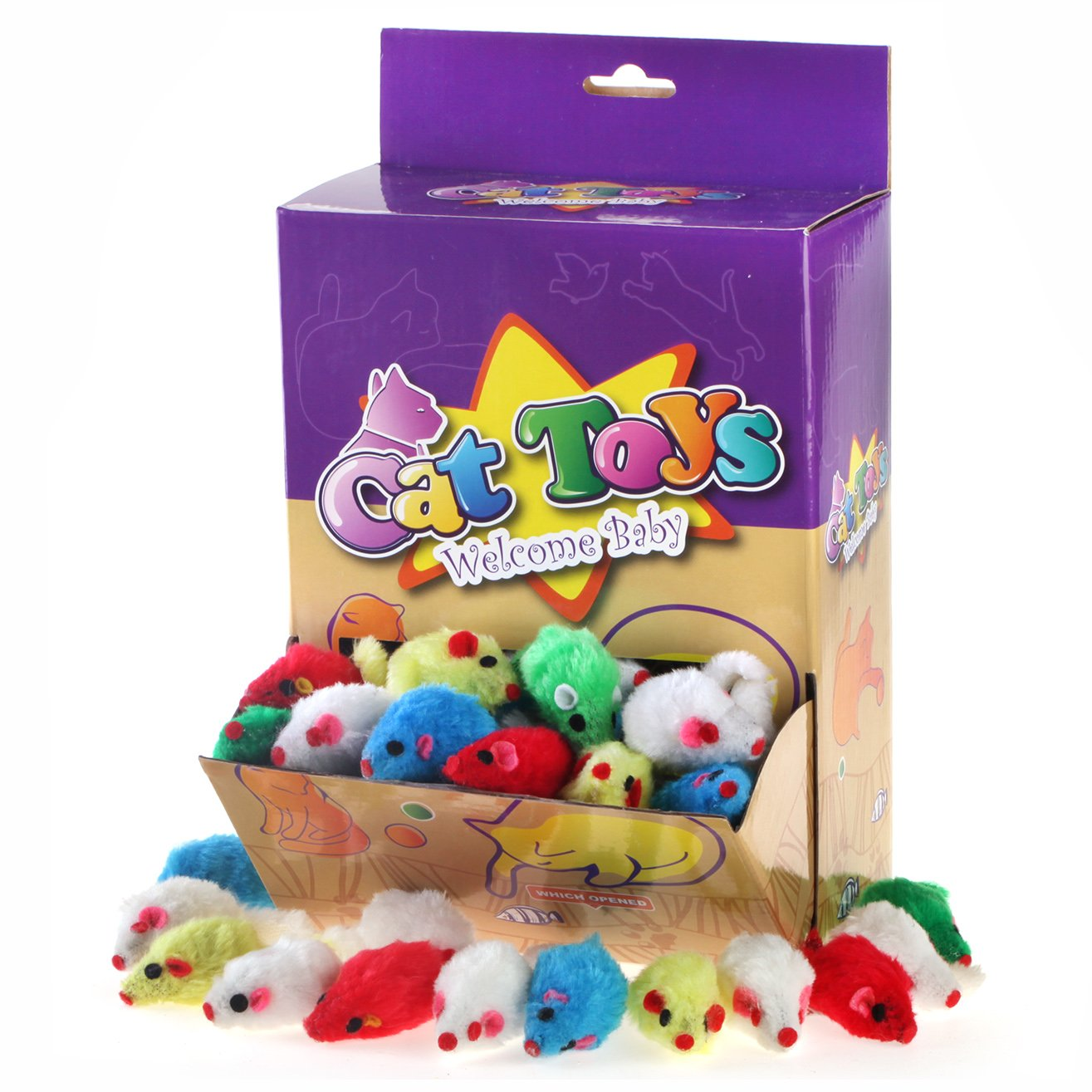 Chiwava 60PCS 4.1'' Furry Cat Toy Mice Rattle Small Mouse Kitten Interactive Play Assorted Color
